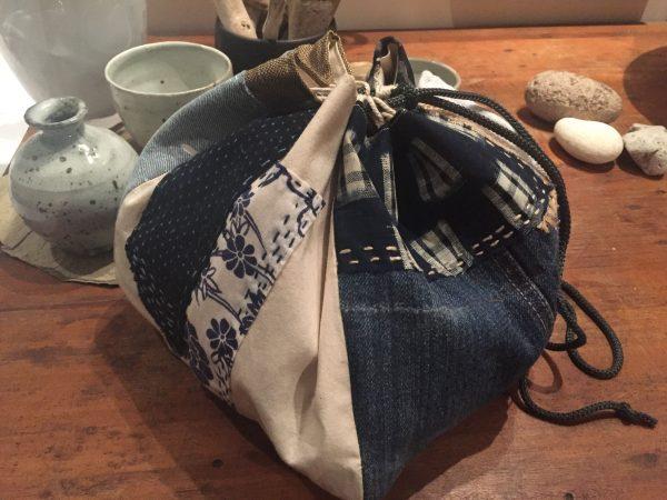 Japanese drawstring boro rice bag illustrating the finished work using the kit.