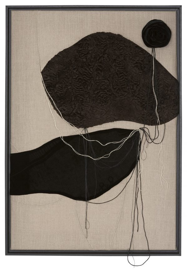 Cloud 2 - Textile artwork with used fabrics and thread, black velvet and brown astrakhan with linen