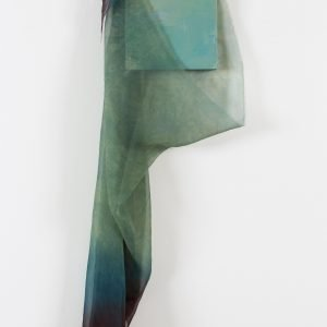 Abstract oil painting with natural plant dyed silk draped over.